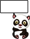 panda cartoon sitting with blank sign