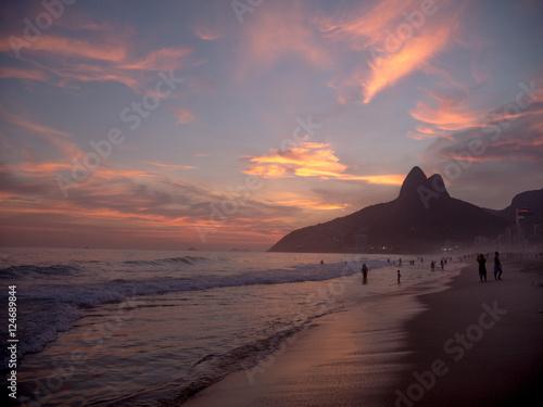 Deurstickers Rio de Janeiro Ipanema Beach at Sunset in Rio de Janeiro