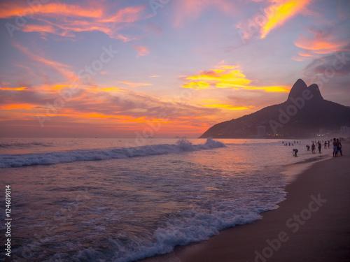 Poster Ipanema Beach at Sunset in Rio de Janeiro