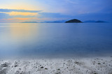 twilight or sunset sky on koh mak beach or mak island with mount