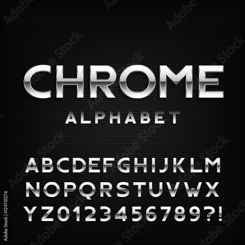 Chrome alphabet font  Metal effect italic letters and