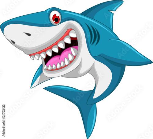 Fototapeta angry shark cartoon jumping