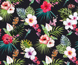 Watercolor tropical floral pattern - 124708691