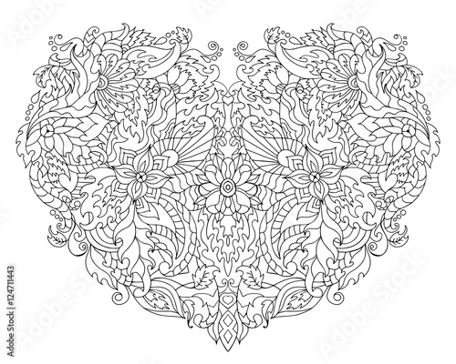 Hand drawn flower heart - 124711443