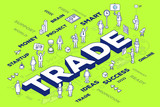 Vector illustration of three dimensional word trade with people
