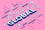 Vector illustration of three dimensional word global with people
