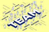 Vector illustration of three dimensional word team with people a