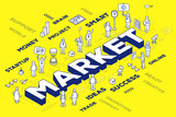 Vector illustration of three dimensional word market with people