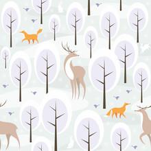 Navidad sin patrón, con la imagen del bosque en invierno y los animales salvajes