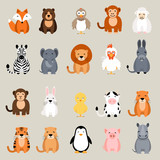 Fototapety Cute vector animal set. Fox, bear, elephant, bear, hen, chicken, chick, rooster, lion, monkey, tiger, pig, donkey, rabbit, rhino, cow, zebra, sheep, penguin