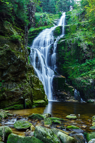 Kamienczyk waterfall, the highest waterfall in polish part of Karkonosze Moutain, near Szklarska Poreba. - 124714407