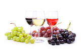 Red, rosé and white wine, with bunches of grapes - 124715026