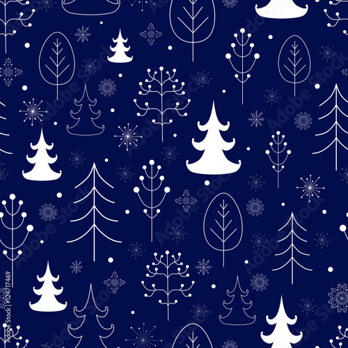 Materiał do szycia Winter forest background