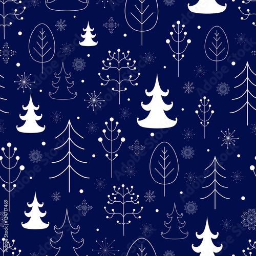 Materiał do szycia Zima na tle lasu