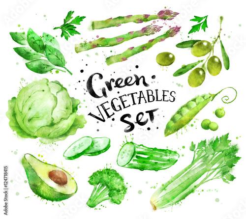obraz lub plakat Set of green vegetables