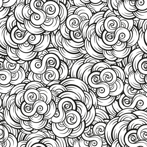 Materiał do szycia Fantasy decorative cloud shapes seamless pattern