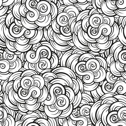 Cotton fabric Fantasy decorative cloud shapes seamless pattern