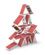Leinwanddruck Bild - House of cards tower 3D collapsing