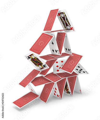 Leinwanddruck Bild House of cards tower 3D collapsing