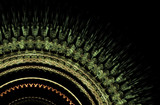 Fractal decorative illustration of  green round rug with fringe  on black background, close up