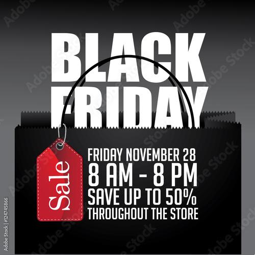 black friday shopping bag and sales tag marketing template eps 10