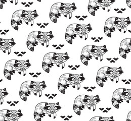 Black and white seamless pattern with raccoons