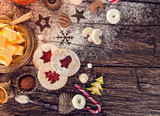 Christmas homemade cookies on wooden table