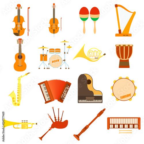 Fototapeta Musical instruments icons set. Flat illustration of 16 musical instruments vector icons for web