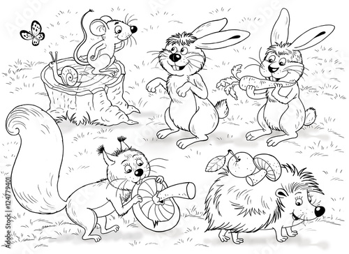 At the zoo. Little cute forest animals. Woodland animals. Cute mouse, squirrel, hares, snail and hedgehog. Illustration for children. Coloring book. Coloring page. Funny cartoon characters.