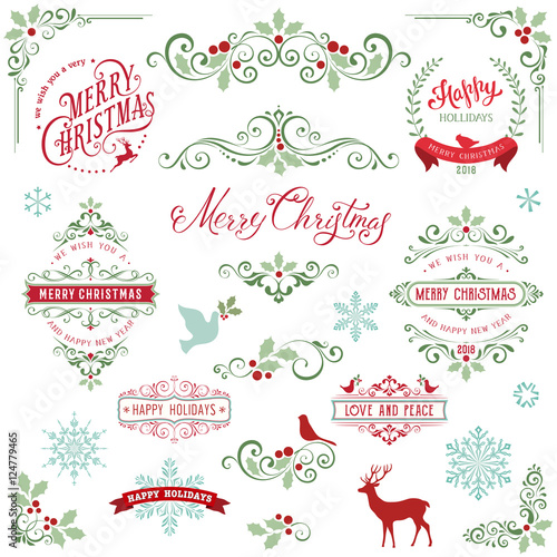 Ornate Christmas Frames And Swirl Elements With Merry Christmas Awesome Love Snowflake Quotes