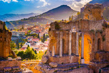 Fototapety The Ruins of Taormina Theater at Sunset. Beautiful travel photo, colorful image of Sicily.