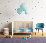 Modern nursery room with blue and purple accents
