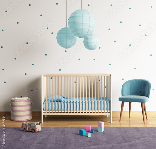 Fototapeta Modern nursery room with blue and purple accents