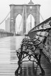 Brooklyn Bridge with no people on a rainy day with a bench in the foreground