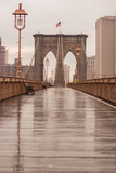 Brooklyn Bridge with no people on a rainy day