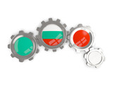 Flag of bulgaria, metallic gears with colors of the flag