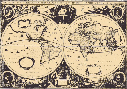 Poster Early world map / Hendrik Hondius(1630) [vector]
