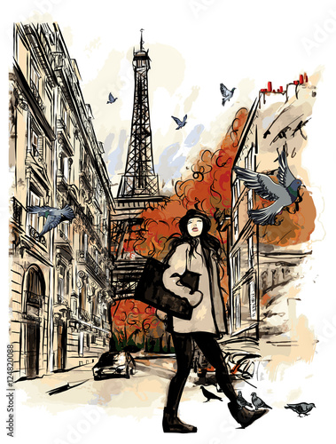 Tuinposter Art Studio Paris in autumn time near Eiffel Tower