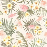 Sepia tropical flowers and jungle palms. Beautiful fabric pattern with a tropical plumeria isolated over pink background. Blossom plumeria for seamless pattern background. - 124821406