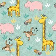 hand draw seamless pattern with giraffe and monkey.