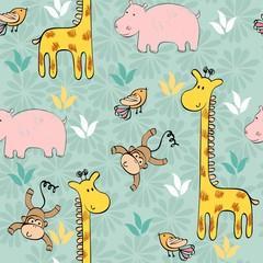 hand draw seamless pattern with giraffe and monkey.