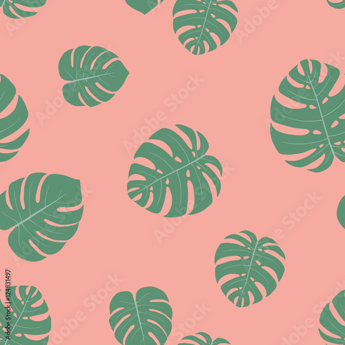 Cotton fabric Seamless pattern with hand-drawn tropical monstera