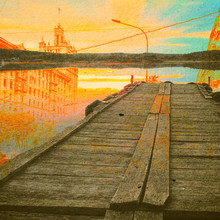 Fantasy Ekologia Abstract Background. Krajobrazy miejskie mieszany z naturalnym na tekstury papieru. Vintage Retro Style