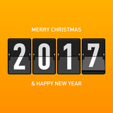 Merry Christmas and Happy New Year 2017 greeting card. Mechanical timetable, split flap display style, vector illustration