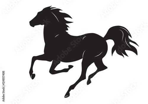 silhouette of black running horse - vector illustration © Ornavi