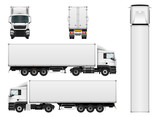 Fototapety Vector truck trailer template isolated on white background. Cargo delivering vehicle. All elements in groups on separate layers.