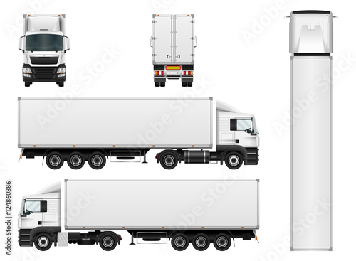 Fototapeta Vector truck trailer template isolated on white background. Cargo delivering vehicle. All elements in groups on separate layers.
