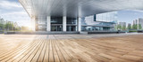 office building entrance with wooden floor foreground,china. - 124866237