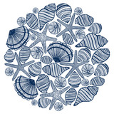 vector composition with shells and starfishes