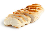 Partially sliced grilled chicken breast with black pepper and rock salt. - 124867212